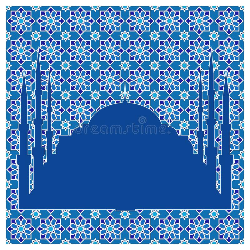 Silhouette of a mosque on the background of a traditional oriental vector seamless pattern. stock illustration