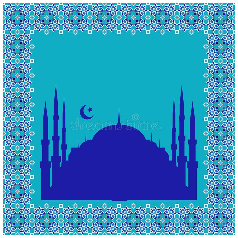 Silhouette of a mosque, a crescent with a star, in a frame from a traditional east vector ornament. Free for text. royalty free illustration