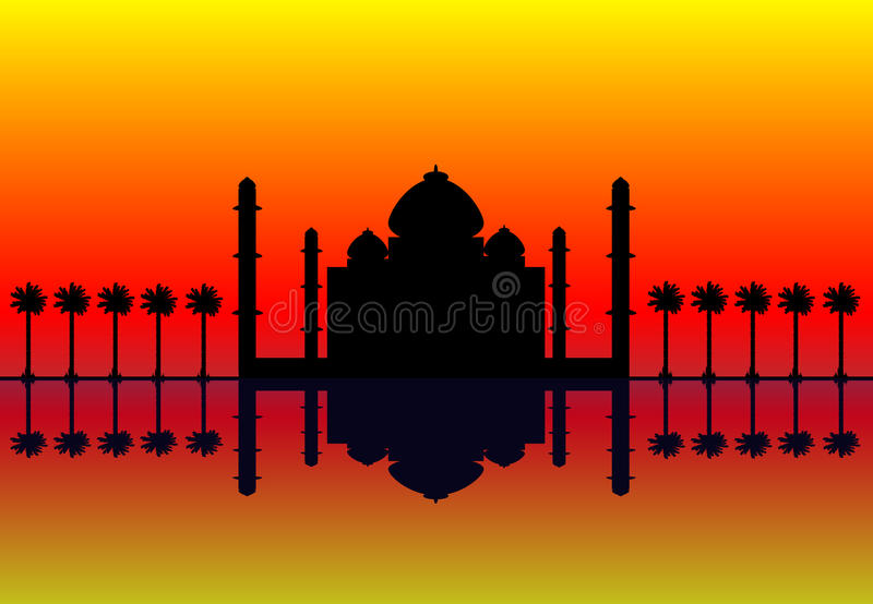 Silhouette of mosque at sunset stock illustration