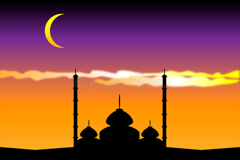 Silhouette of mosques stock illustration