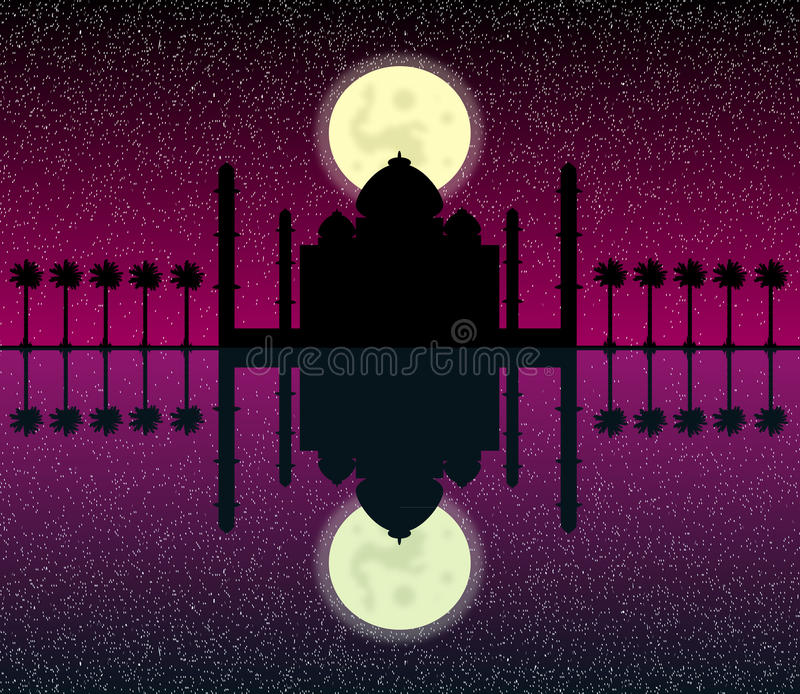 Silhouette of mosques in moon night vector illustration