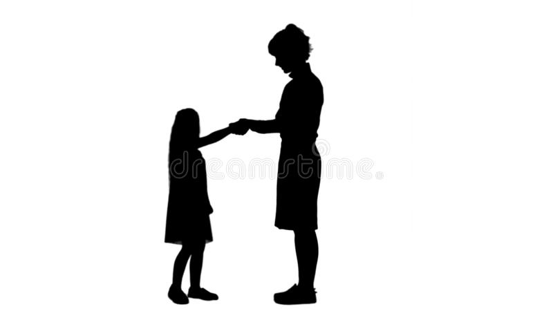 Silhouette Mother and child shake hands track matte royalty free illustration