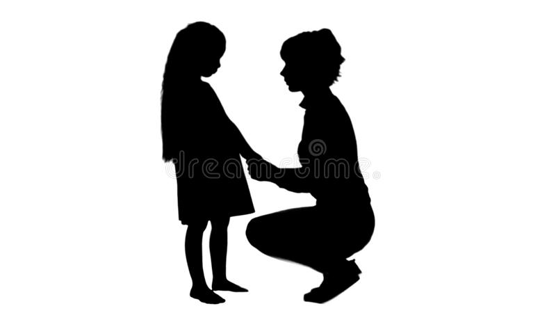 Silhouette Mother and daughter talking track matte stock illustration