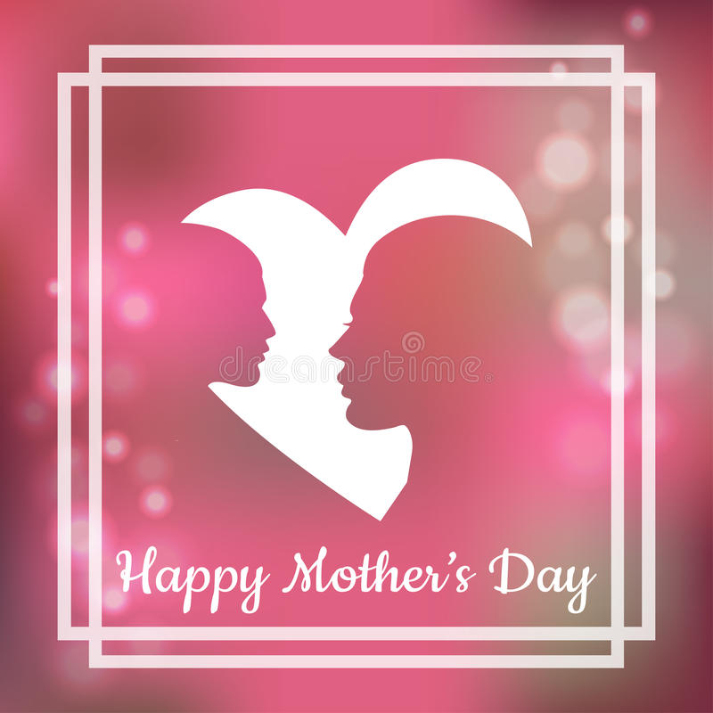 Silhouette of mother and her child with text for Happy Mothers Day. Greeting card. In vector format stock illustration