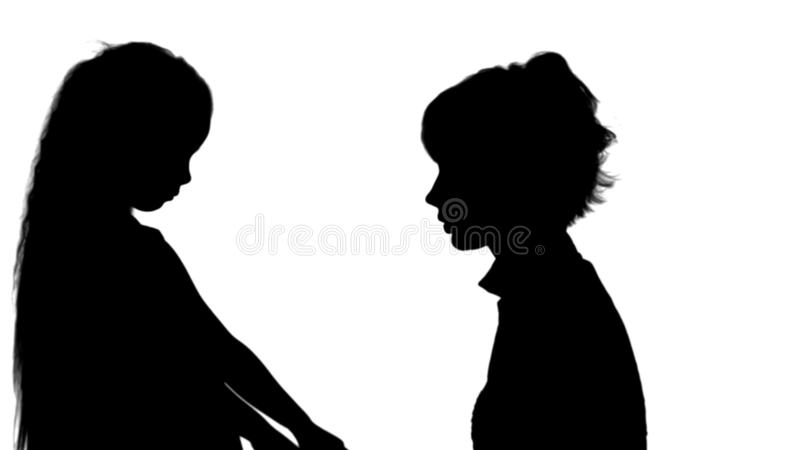 Silhouette Mother speaks with her daughter track matte royalty free illustration