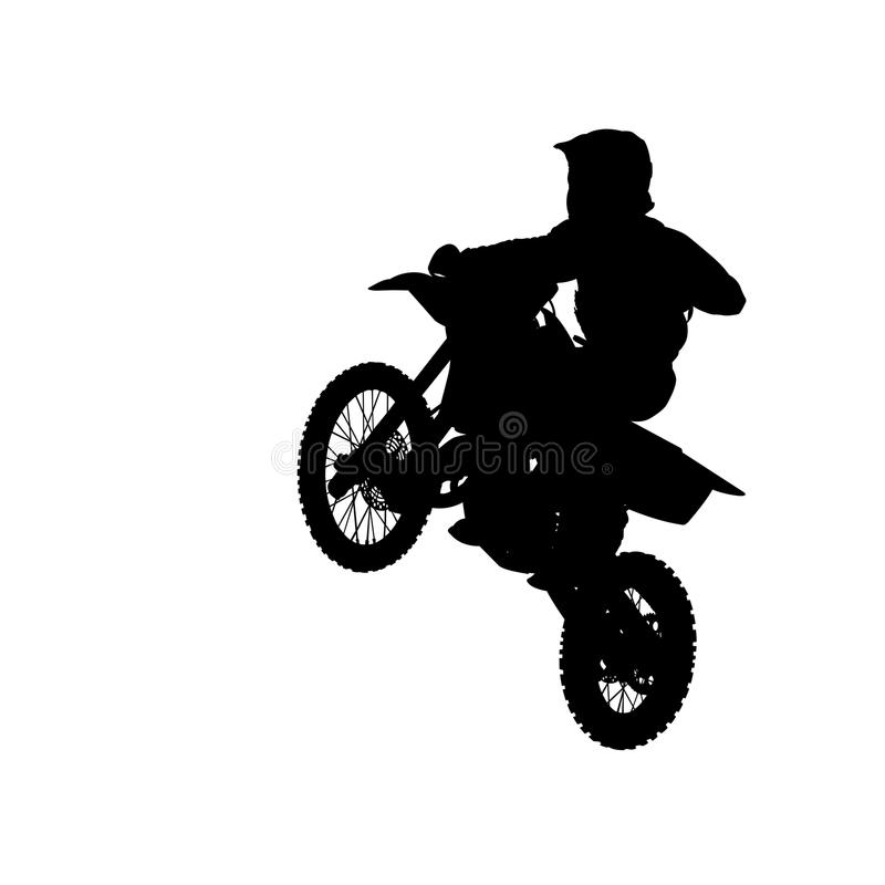 Silhouette of motocross rider jump isolated on white royalty free illustration