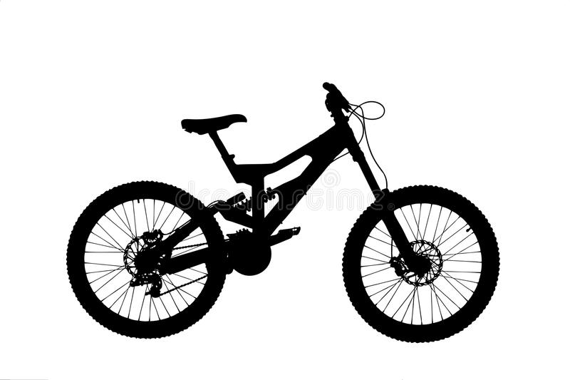 A silhouette of a mountain bike stock photography