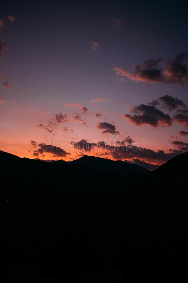 Silhouette of Mountain During Dawn stock images