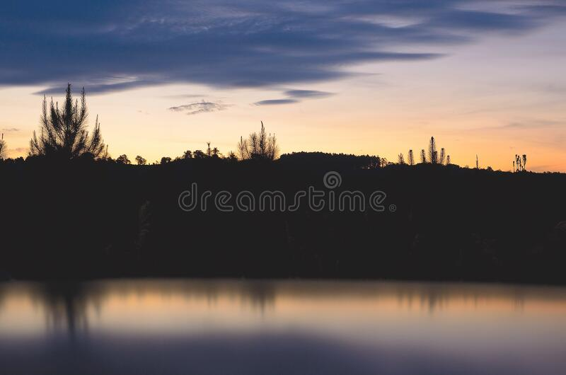 Silhouette of Mountain at Daytime stock image