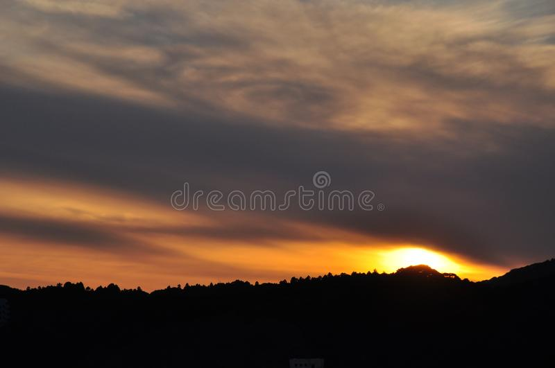Silhouette Mountain during Golden Hour royalty free stock image