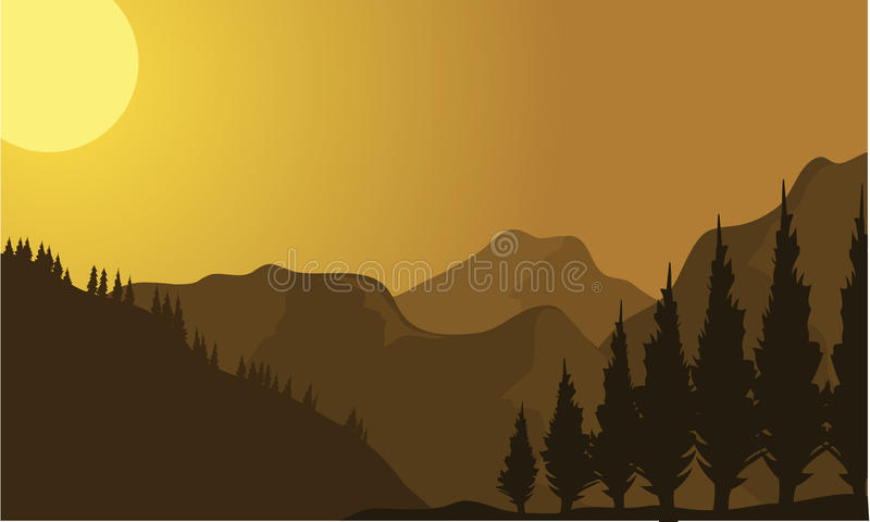 Silhouette of mountain at sunrise. With brown background stock illustration