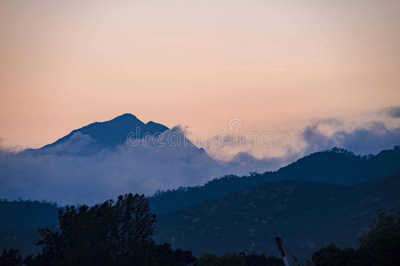 Silhouette Of Mountain During Sunset royalty free stock image
