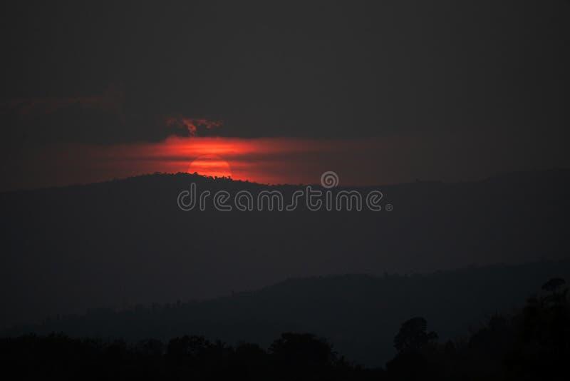 Silhouette mountain sunset sunrise. Silhouette mountain the big sunset or sunrise royalty free stock image