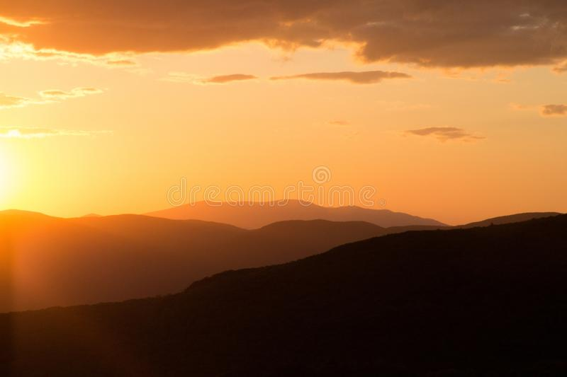 Silhouette of Mountains during Daytime stock images