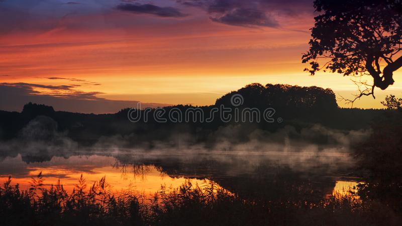 Silhouette of Mountains in Landscape Photogprahy stock image