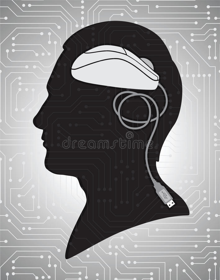 Silhouette with mouse instead brain. Vector. Male silhouette on circuit board background with mouse instead brain stock illustration