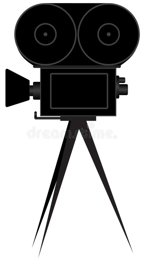 Silhouette of movie camera. Illustration of silhouettes of the movie camera on a white background stock illustration