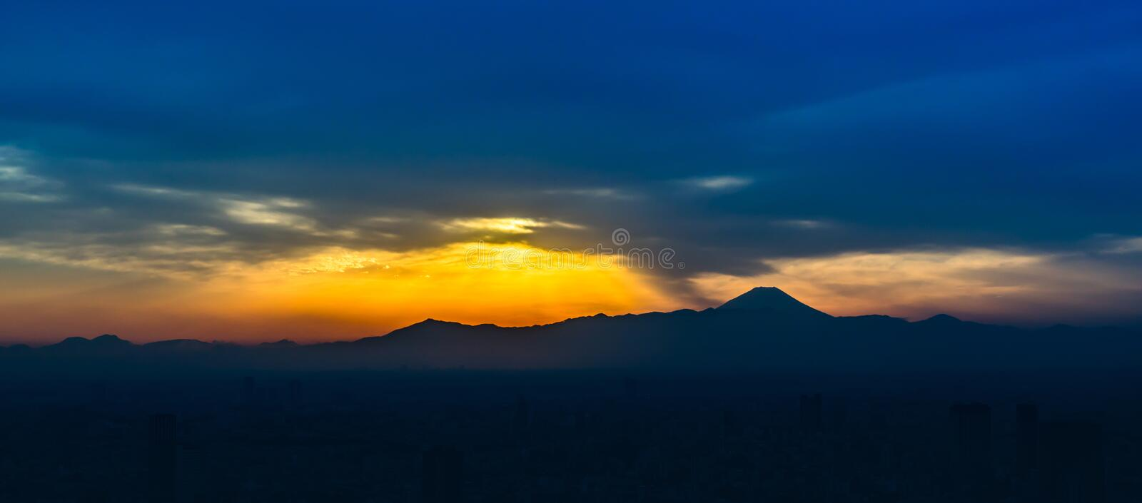 View of Mt. Fuji from building in Tokyo royalty free stock photos