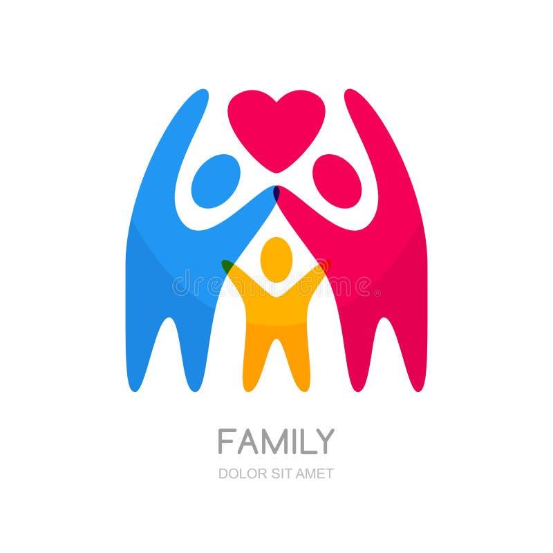 Silhouette multicolore abstraite de personnes Illustration de famille ou d'enfants heureux illustration libre de droits
