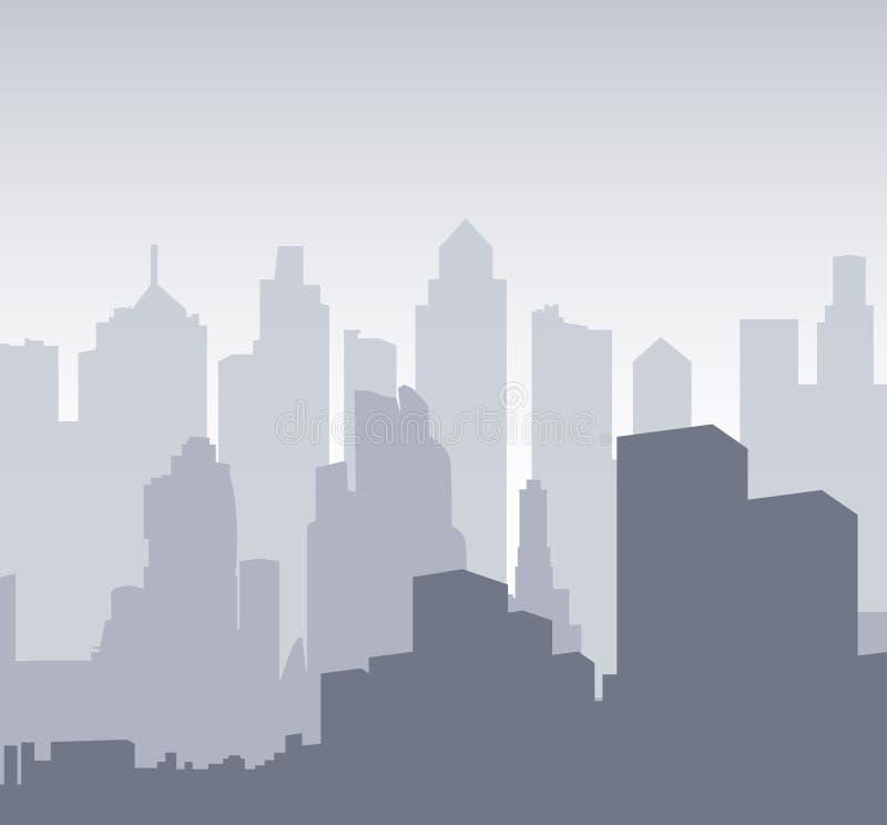 Silhouette multicouche d'une ville de nuit  illustration stock