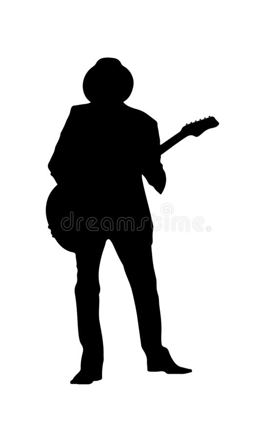 Silhouette of a musician in a hat with a guitar. Simple design vector illustration