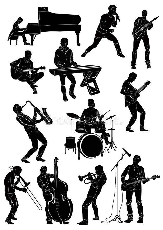 Silhouette of musicians in action: pianist, singer, guitarist, keybiardist,bassist, contrabassist royalty free stock photos