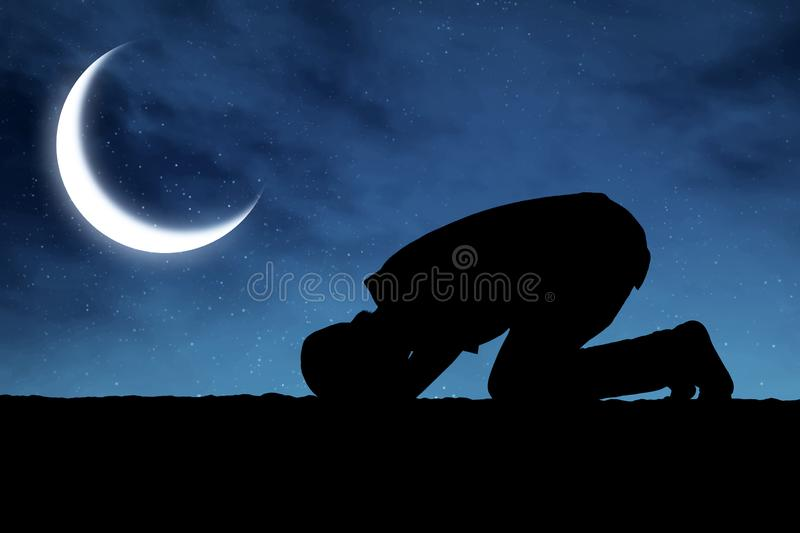 Silhouette of muslim man praying royalty free stock photography