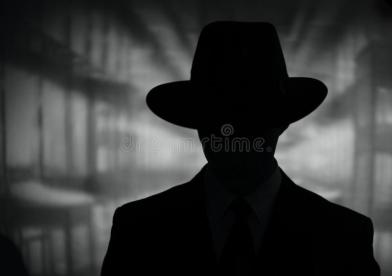 Download Silhouette Of A Mysterious Man In Hat Stock Image