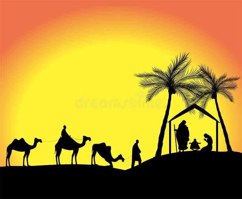 Silhouette of the nativity scene stock illustration