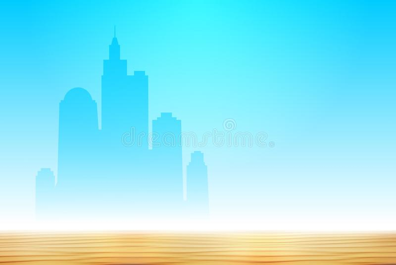 Silhouette of the new modern big city on the horizon in the desert. On the background of cloudless sky and sand high skyscrapers. Construction in the desert is vector illustration