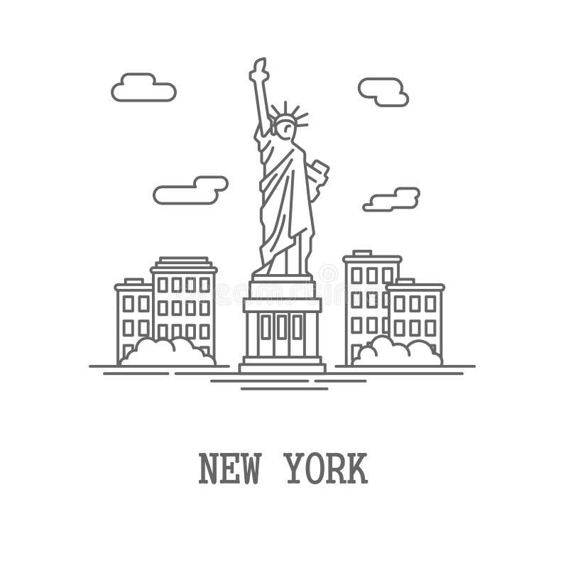 Silhouette New York City de dessin illustration de vecteur