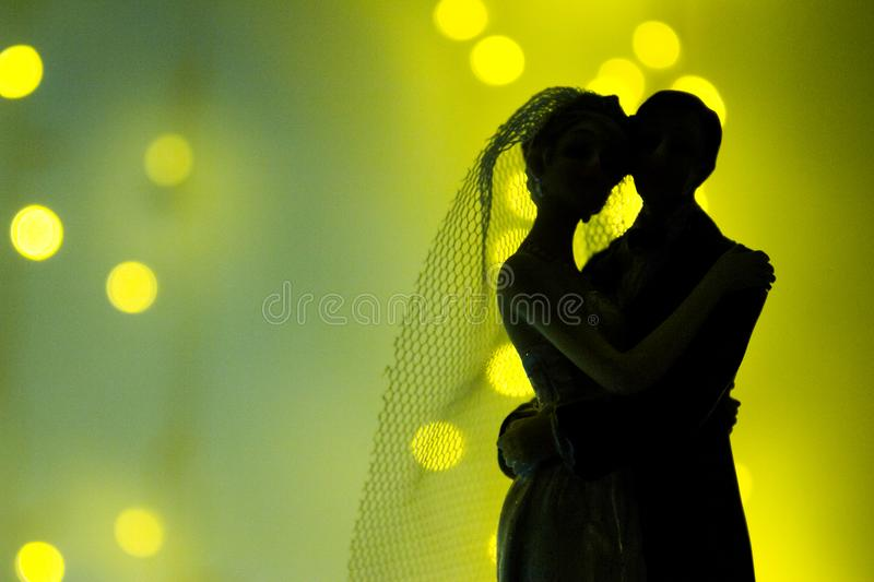 Silhouette of newlyweds stock photo