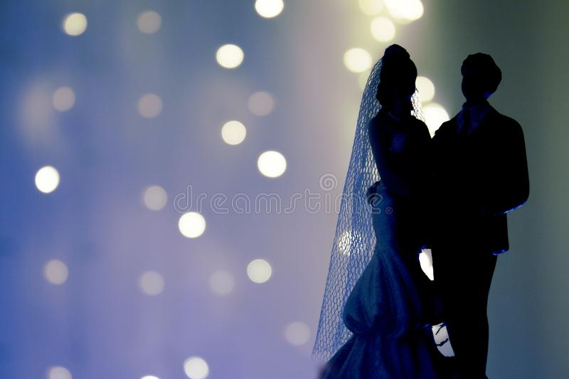 Silhouette of newlyweds royalty free stock photo