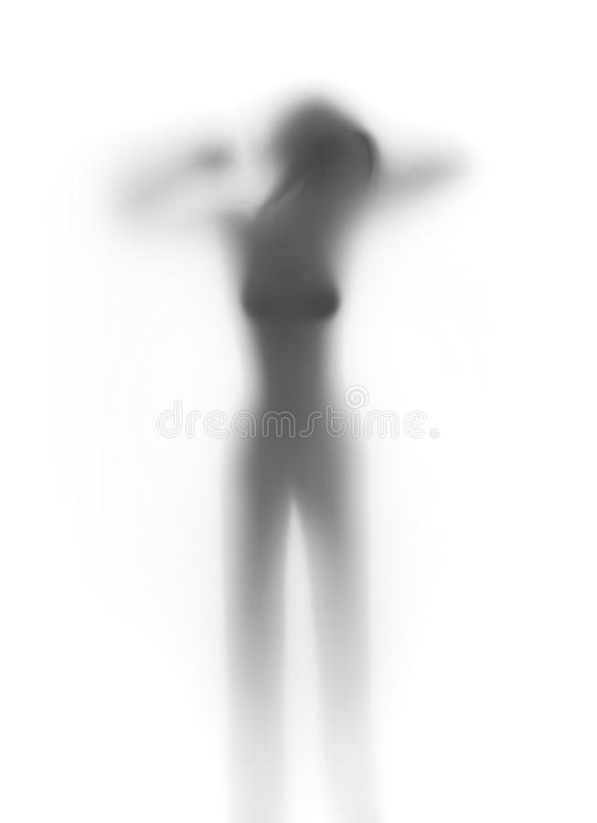 Silhouette of a nice woman stock photo
