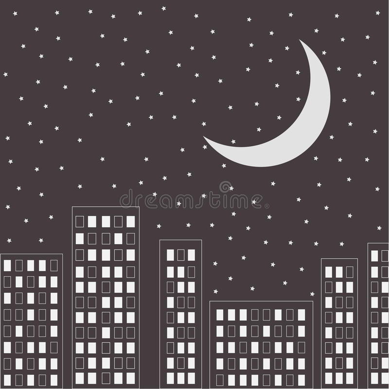 Silhouette of the night city. Stars and moon in th. E sky. Vector illustration