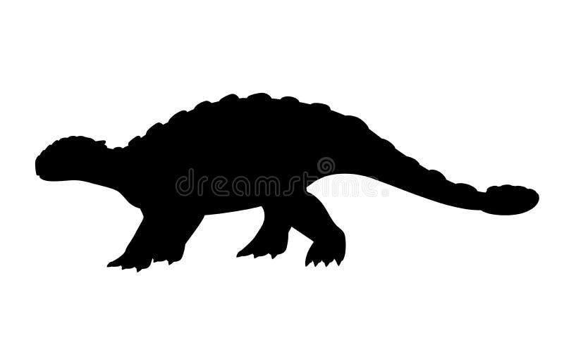 Silhouette noire Ankylosaurus de Brown r Illustration plate d'isolement sur le fond blanc Animal illustration de vecteur