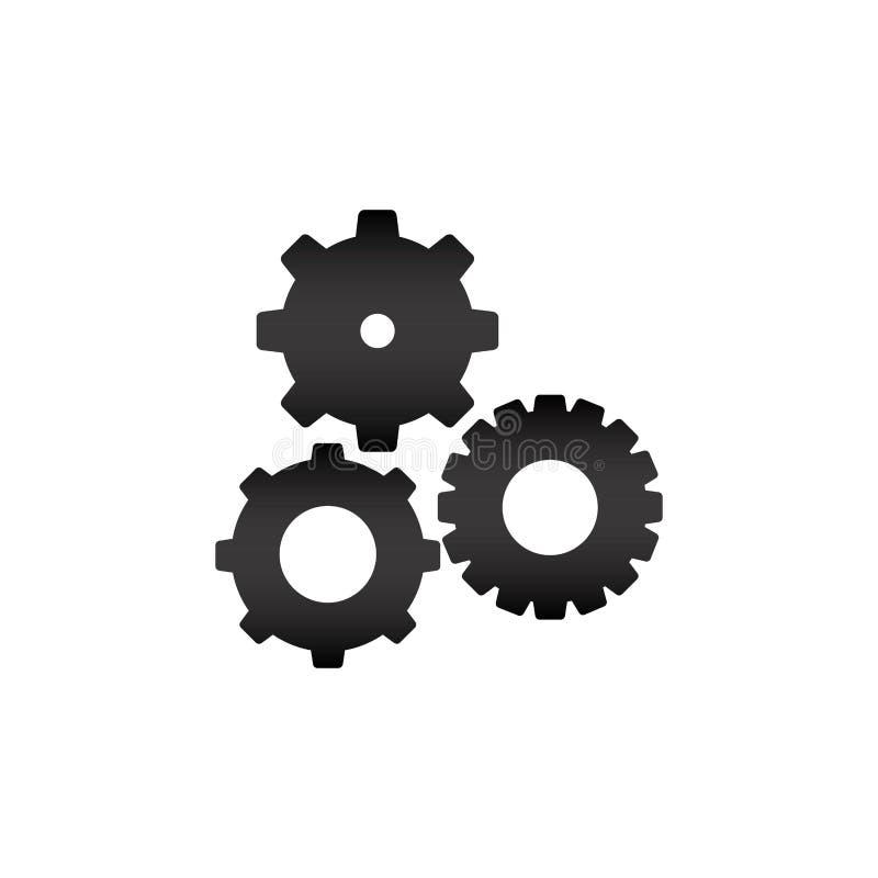 silhouette noire avec des pignons réglés illustration de vecteur