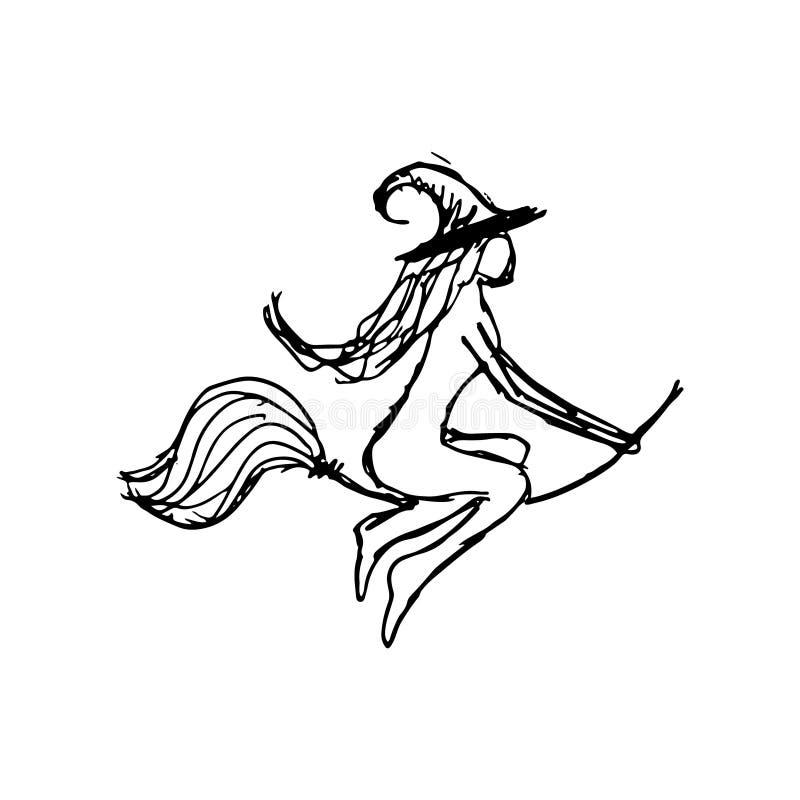 Silhouette noire avec la sorcière attribut illustration stock