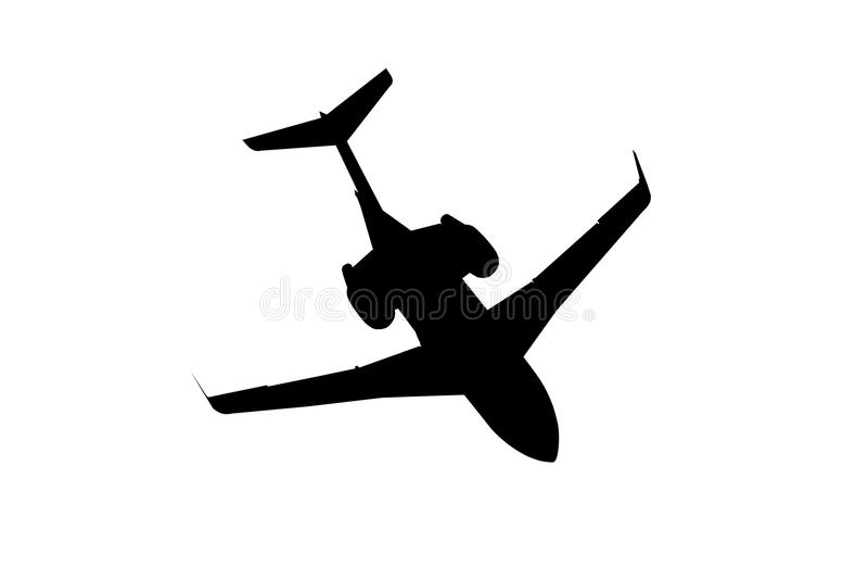 Silhouette noire d'avion d'affaires image stock