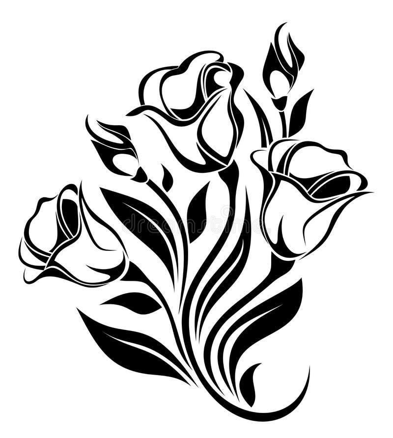 Silhouette noire d'ornement de fleurs. illustration de vecteur