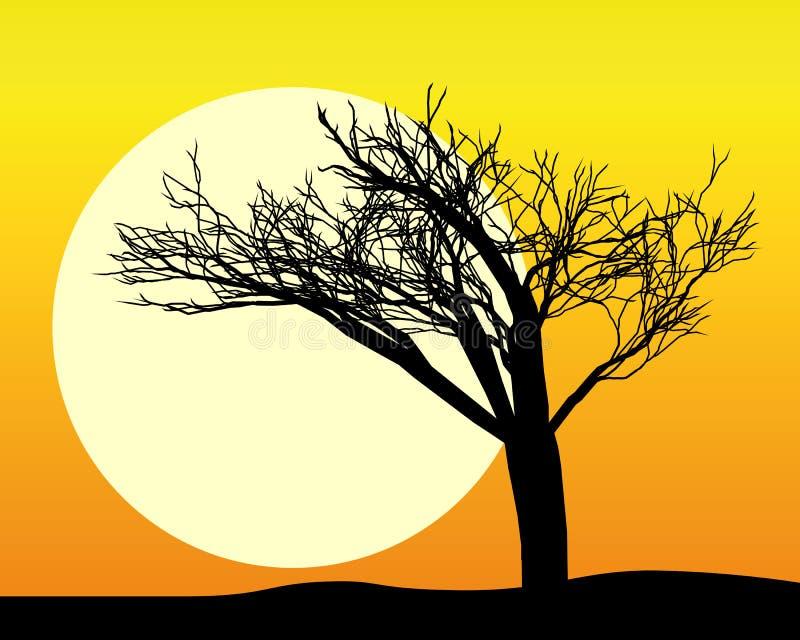 Silhouette noire d'un arbre illustration stock