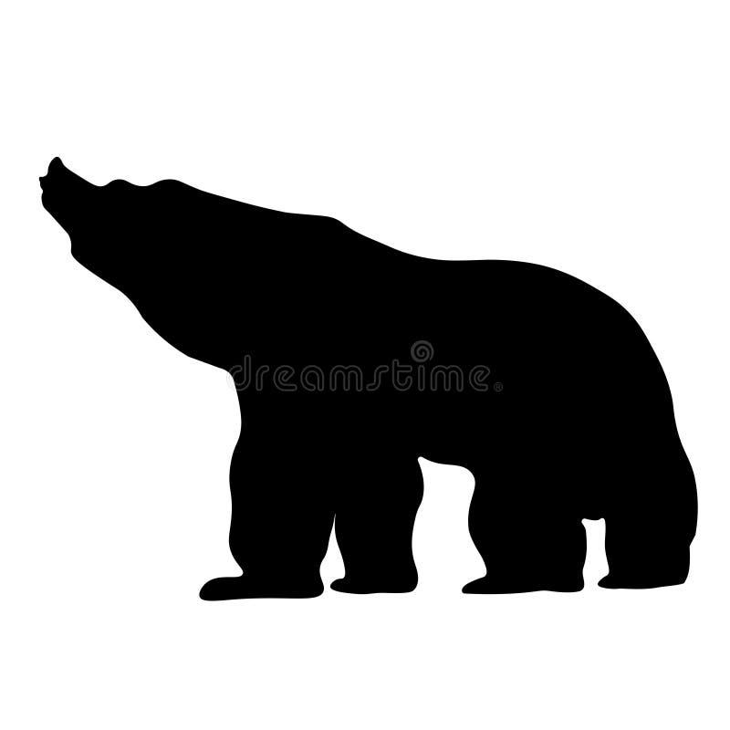Silhouette noire d'un grand ours fort illustration stock