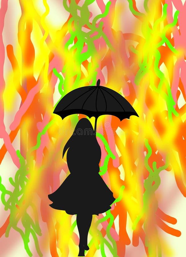 Silhouette noire d'une fille avec un parapluie sur le fond abstrait illustration stock
