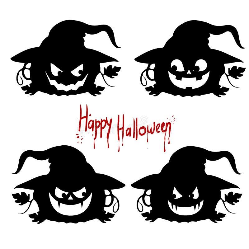 Silhouette noire de collection des émotions d'un ` de Halloween de ` de potiron sur un fond blanc illustration de vecteur