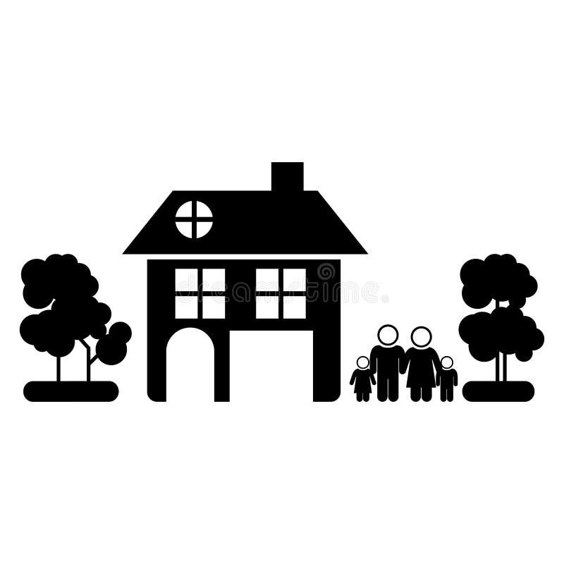 silhouette noire de famille non domestique à l'arrière-plan blanc illustration libre de droits