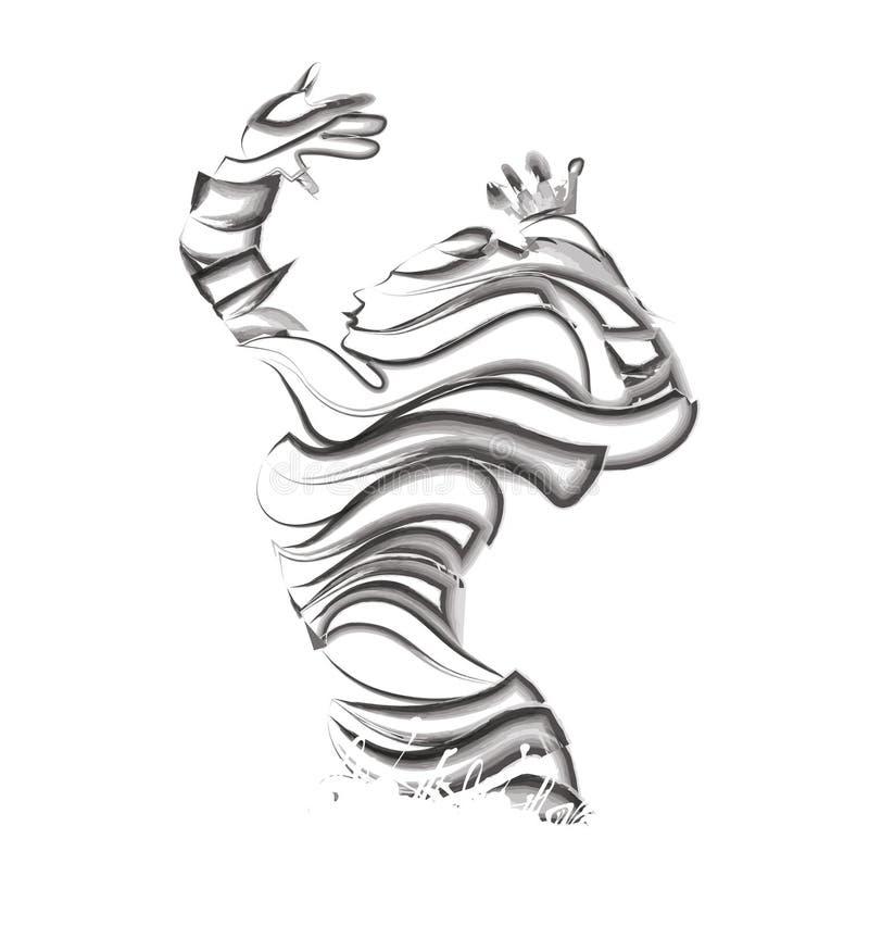 Silhouette noire de femme blanche illustration de vecteur