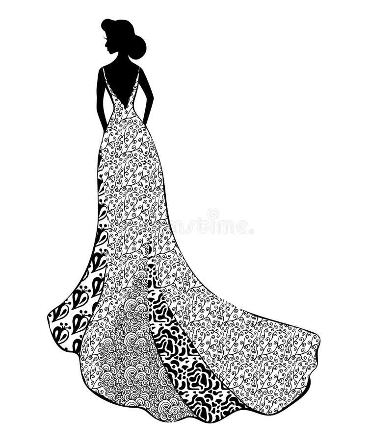 Silhouette noire de jeune fille dans le mariage ou la robe long de dentelle de soirée avec la position de train qu'elle se tient  illustration libre de droits
