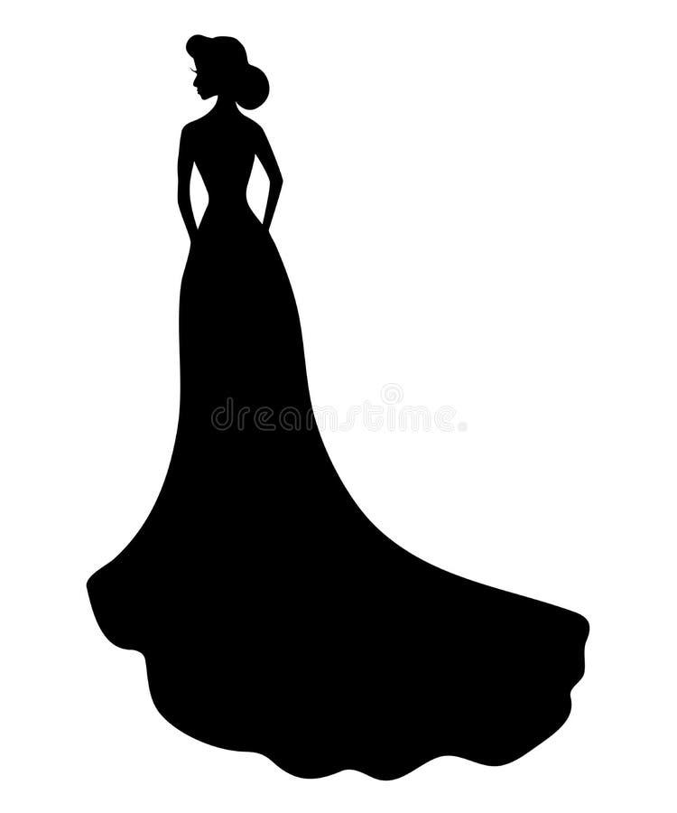 Silhouette noire de jeune fille le mariage ou en égalisant la longue robe avec le train illustration stock