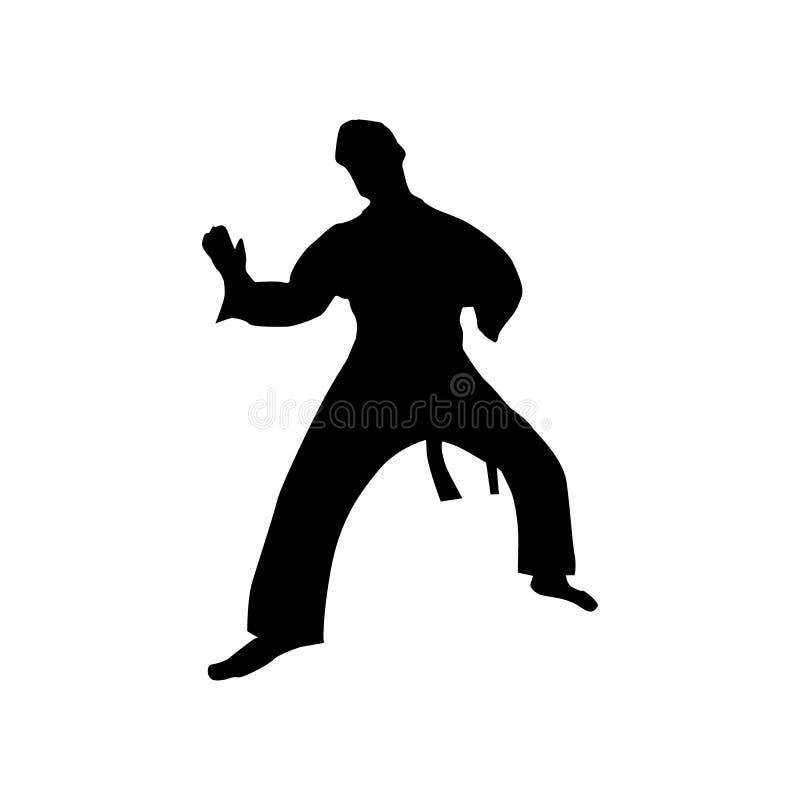 Silhouette noire de karaté illustration stock