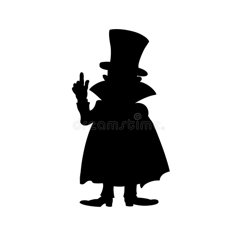 Silhouette noire de l'homme dans le manteau avec le doigt  Vecteur illustration stock